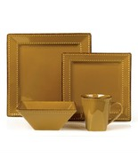 16 Piece Square Beaded Stoneware Dinnerware set by Lorren Home Trends, M... - $82.12