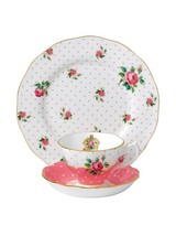 Royal Albert New Country Roses Cheeky Pink 3 Piece Set Teacup, Saucer, Plate - $60.73