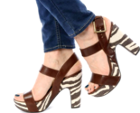 Michael Kors Ivana Mocha Zebra Animal Print Canvas Platform Sandals Heels 6.5