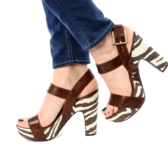 Michael Kors Ivana Mocha Zebra Animal Print Canvas Platform Sandals Heel... - $54.45