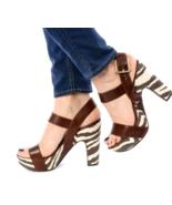 Michael Kors Ivana Mocha Zebra Animal Print Canvas Platform Sandals Heels 6.5 - $54.45
