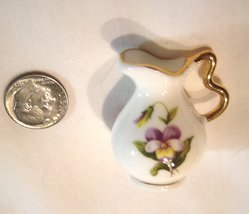 Miniature Bone China Pitcher with Pansies Dollhouse - $14.99