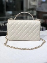 BNIB AUTHENTIC CHANEL 2018 WHITE Quilted Calfskin Top Handle Flap Bag RECEIPT image 2
