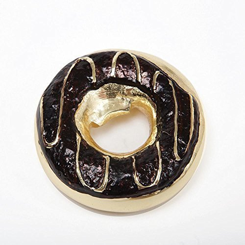 "8 Oak Lane EN019BRN Donut Chocolate Icing Metal Bottle Opener, 3.5"", Gold"