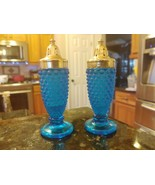 Westmoreland Glass iridescent blue hobnail salt & pepper shakers - very ... - $107.95