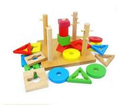 PANDA SUPERSTORE Shape Matching Wood Blocks for Kids Educational Toys, 20 PCS
