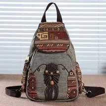 Women Backpack Vintage Handmade Canvas Bag Geometrical Printing Ethnic G... - $38.69