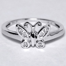 Natural Diamond Butterfly Band Ring Womens 10K White Gold Custom Made - $249.00