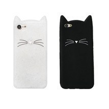 Cute Cartoon Flash Powder Beard Cat Soft Silicone Case Cover For Various... - $11.70 CAD