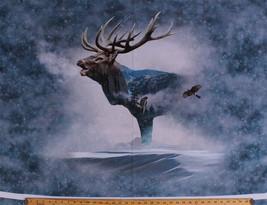 "32"" X 44"" Elk Hawks Winter Call of the Wild Digital Cotton Fabric Panel ... - ₨932.42 INR"