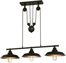 Three Light Indoor Island Pulley Pendant, Finish w Highlights, Oil Rubbe... - $263.96