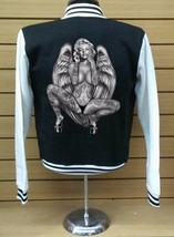 Varsity Collage Baseball BLACK/WHITE Fleece Jacket Monroe Sexy Pose - $29.69