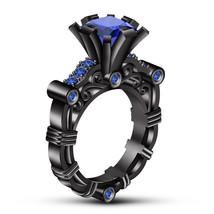 Womens Designer Engagement Ring 14k Black Gold Finish 925 Sterling Solid Silver - £55.56 GBP