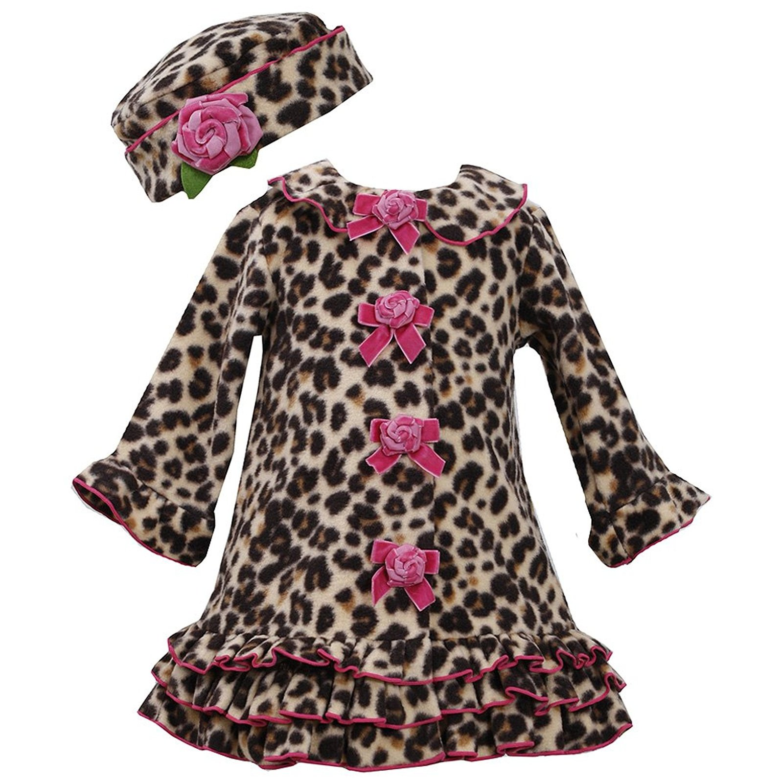 Bonnie Jean Baby Girls 12M-24M Brown/Pink Leopard Print Fleece Coat/Hat Set