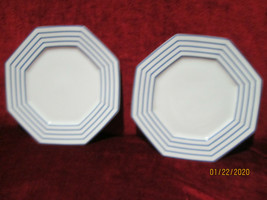 Fitz & Floyd Blue Pin Stripe set of 2 dinner plates - $19.75