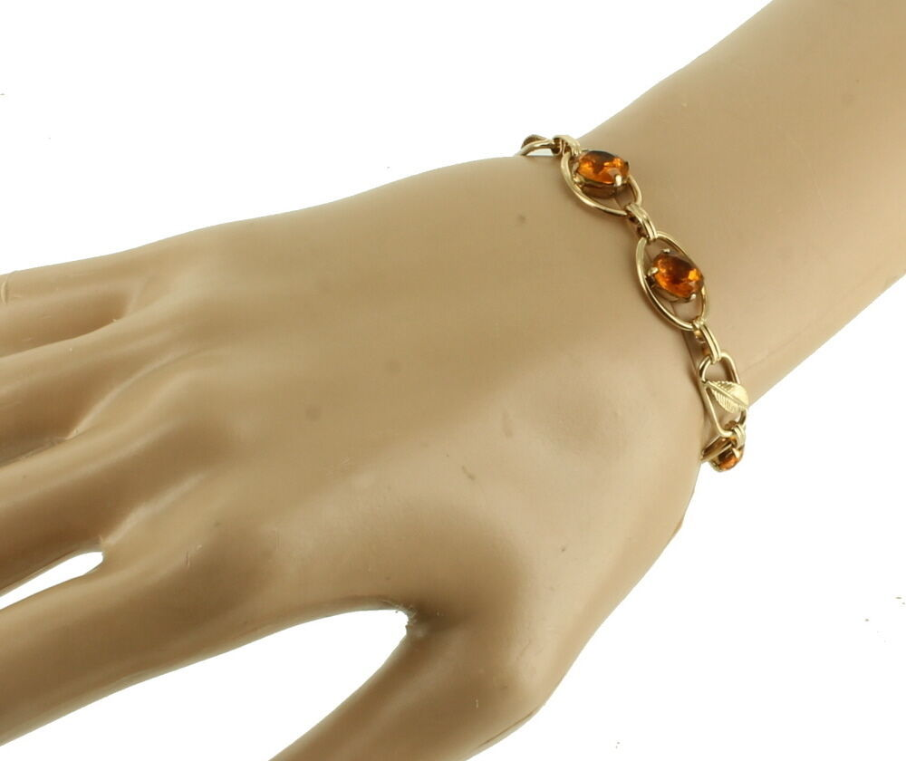 "VINTAGE DECO GF GOLD FILLED AMBER PASTE LEAF LINK BRACELET 6.5"" image 3"