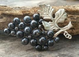 Vintage Large Silver Tone Black Grape Brooch Pin - $34.30