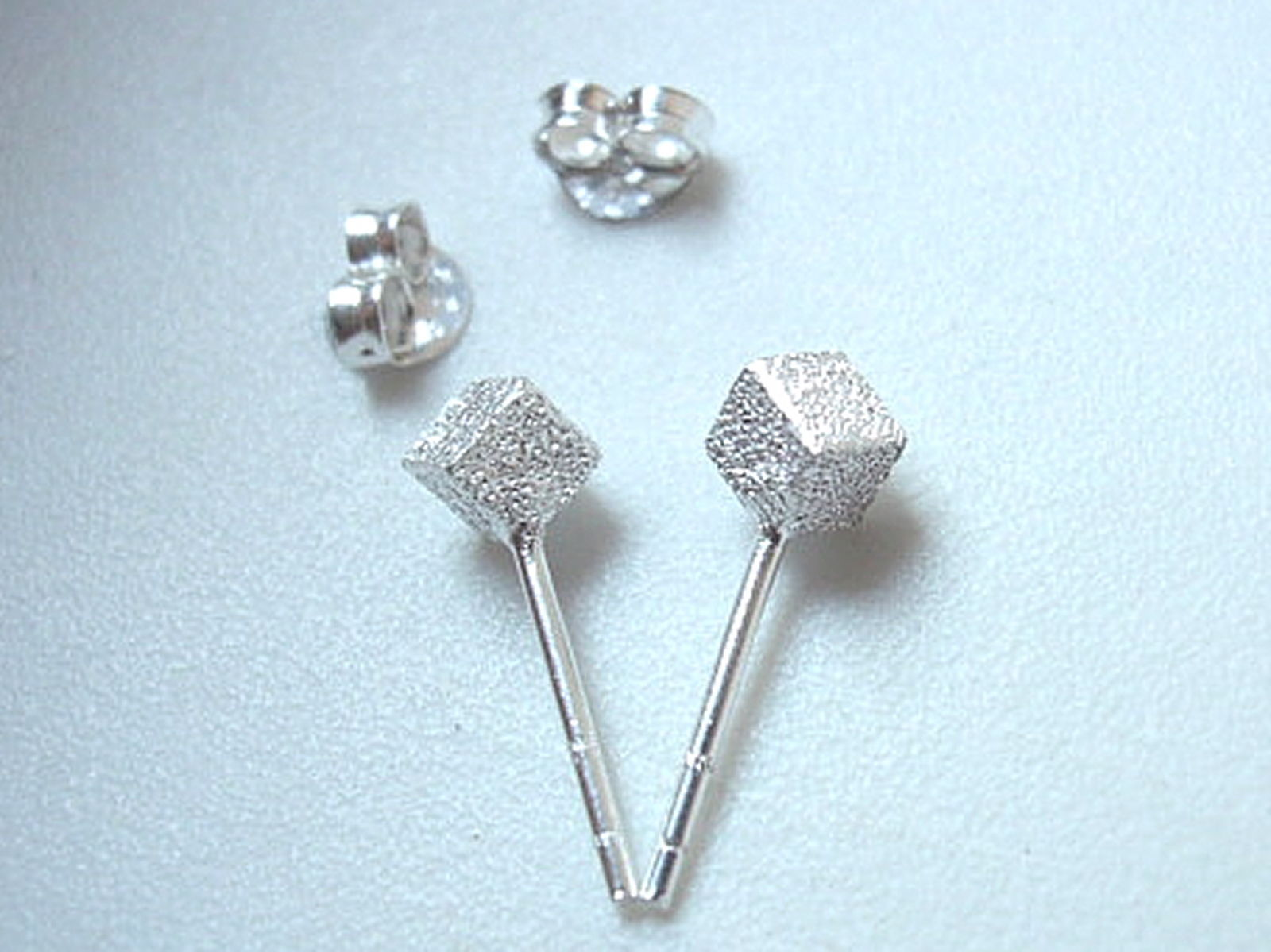 SALE Faux Diamond-Dust 5mm Square Studs 925 Sterling Silver Corona Sun Jewelry - $3.95