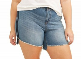 NEW WOMENS PLUS SIZE 26W A3 HI/LOW DENIM SHORTS SIDE STRIPING SUPER STRETCH - $17.41