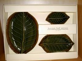 3 Pier 1 Green Harvest Leaf Shaped Stoneware Dining Serving Platters Plates - $38.70
