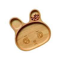 Tray/Baby/Utensils Tableware for Baby Safe Cute Environmental Wooden(Rabbit) image 2