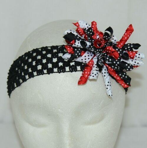 Unbranded Girl Infant Toddler Headband Removable Hair Bow Red Black White