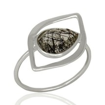 Black Rutile 925 Sterling Silver Stackable Ring Gemstone Jewelry - $16.00