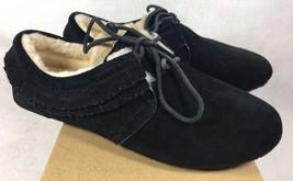 Ugg Nikola Black Suede Fringe Moccasin Sheepskin Slippers Shoes 1011724 Flats - $69.99