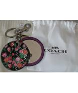 Coach Floral Disc Purse Handbag Mirror Charm Keychain 58500 Black Purple... - $29.00