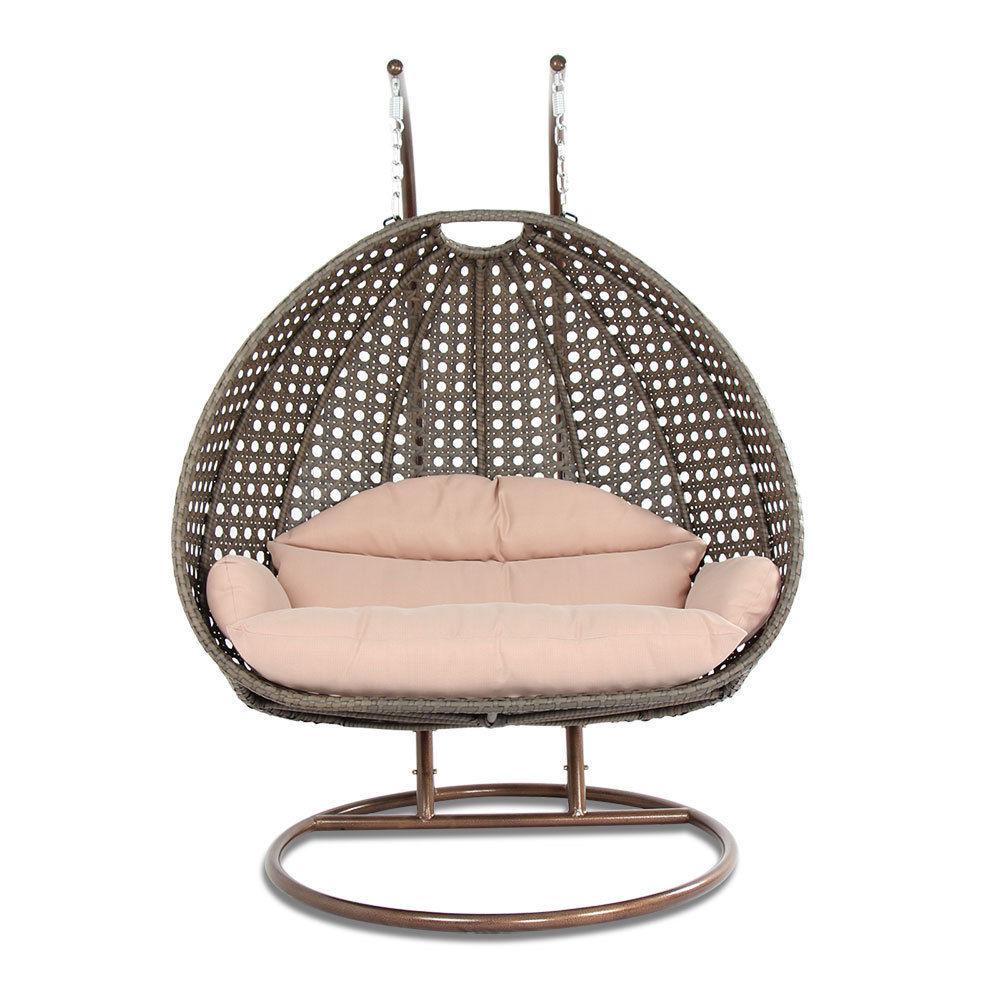 2 Person Outdoor Strong Rattan Hanging Wicker Swing Chair ...