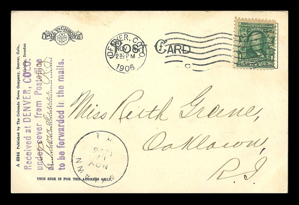Court House Postcard 1906 Colorado Denver Post Office Undercover Stamp CO PC