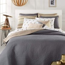 Martha Stewart Collection Whim Turnabout Storm Cloud FULL/QUEEN Quilt Gray New - $144.95