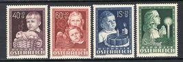 1949 Childhood Set of 4 Austria Postage Stamps Catalog Number B260-63 MNH