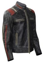 Cafe Racer Vintage Motorcycle Distressed Black Retro Slimfit Leather Jacket image 2