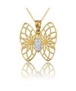 Yellow Gold Filigree Butterfly Diamond Pendant Necklace - $69.99+