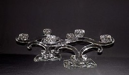 """STUNNING PAIR OF 13"""" TRIPLE BOWL MATCHING CANDLELABRAS CLEAR GLASS UNKNO... - $49.99"""