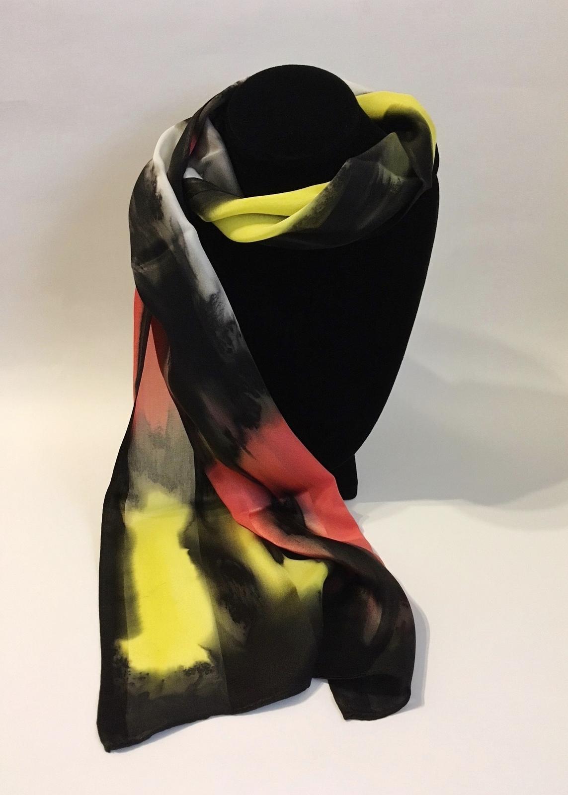 Hand Painted Silk Scarf Papaya Yellow White Black Rectangle Women Best Gift New