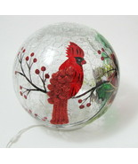 Lighted Christmas Crackle Glass Globe Red Cardinal Bird Painted ED Table... - $19.75