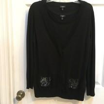 Talbots 2 pc Knit Cardigan SET size MED Black sweater Embellished Beads Sequins - $19.79