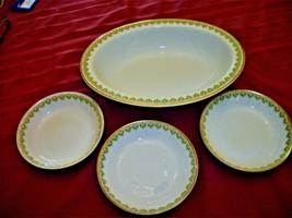 "LOT Antique GDA HAVILAND Limoges 10"" oval bowl+3 berry bowls Art Deco  - $43.56"