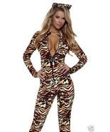 Sexy Seductive Stripes Tiger Print Catsuit Jumpsuit Costume 2pc Set - $52.99