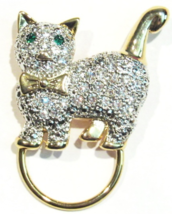 Cat Pin Brooch Clear Crystal Green Eyes Charm Ring Gold Tone Metal - $14.99