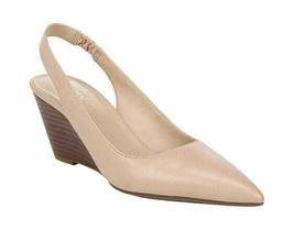 Women's Franco Sarto Aberdeen Wedge Slingback Nude Gloss Kid Leather - $135.88