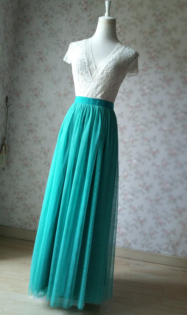 Maxi tulle skirt wedding green 60a 5