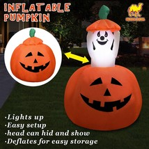 Strong Camel 4ft Animated Halloween Inflatable Pumpkin and Ghost Yard Ga... - $61.34
