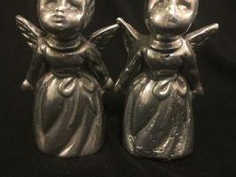 Vintage Pair Silver Tone Metal Cherub Angel Figure Heavy Figurine Decor image 3