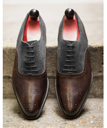 New Syle Men Handmade Fashion Brown Gray Brogue Leather Dress Shoes - $166.73+