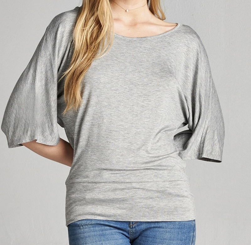 Dolman Sleeve Tops, Dolman Top with Banded Bottom, Light Gray, Colbert Clothing