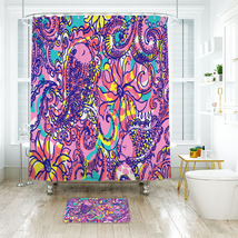 Flower Lilly Sea And Be Seen Shower Curtain Waterproof & Bath Mat For Bathroom - $15.30+