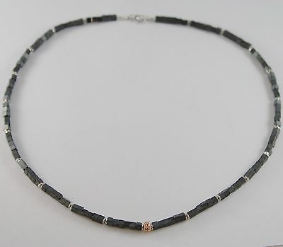 NECKLACE GIADAN 925 SILVER HEMATITE GLOSSY AND WITH 8 DIAMONDS BLACK